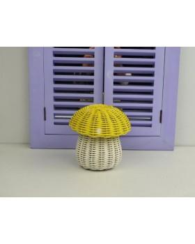 Cosıness Hasır Dekoratif Mantar Sepet - Sarı