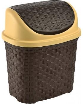 Tuffex Rattan Klik Çöp Kovası - Kahve (5,5 Lt)