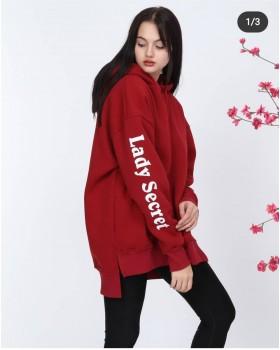 Cosiness - Lady Secret Kadın Bordo Kapşonlu Sweatshirt