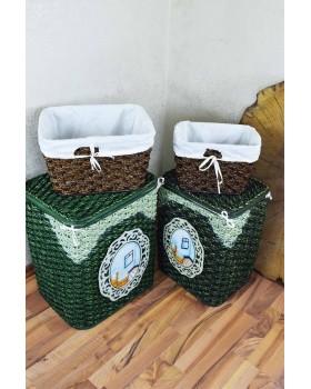 Cosıness Hasır 4 Lü Çamaşır Sepeti - Kahve Yeşil