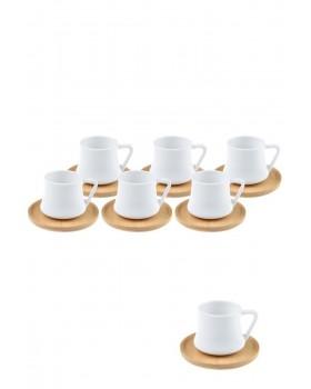 Bambu Tabaklı 6 Lı Kahve Fincan Takımı