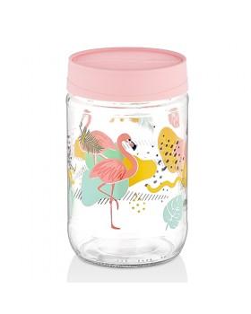 Flamingo Desenli 3' lü Kavanoz Seti