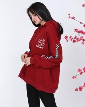 Cosiness - Lady Secret Kadın Bordo Kollar Şeritli Kapşonlu Sweatshirt