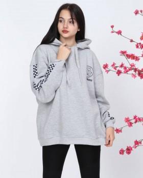 Cosiness - Lady Secret Kadın Gri Kollar Şeritli Kapşonlu Sweatshirt
