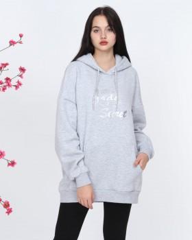 Cosiness - Lady Secret Kadın Gri Kapşonlu Sweatshirt