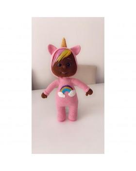 Amigurumi Sevimli El Örmesi Unikorn Luna Doll